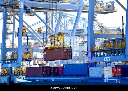 Rotterdam, The Netherlands - August 2019; image filling view on the inner structure with beams and booms of numerous gantry cranes moving containers i