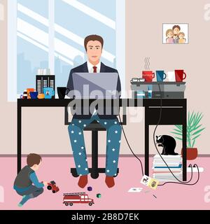 Businessman in a suit jacket and pajama bottoms working from home and his little son playing on the floor. Covid or coronavirus quarantine concept