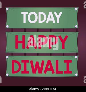 Writing note showing Happy Diwali. Business concept for festival of lights that celebrated by millions of Hindus Wooden panel attached nail on colorfu - Stock Photo