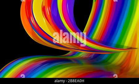 Colorful linear abstraction in the space, background with bright semicircular lines, 3d render backdrop