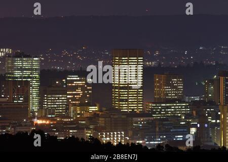 Pretoria City Central Lights At Night - Stock Photo
