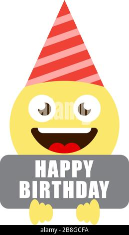 Birthday emoji smiley vector background template. Happy ...