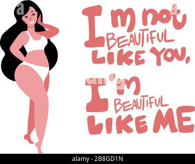 Body positive with brunette woman and inspirational quote, lettering - Stock Photo