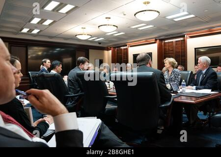 Washington, United States Of America. 14th Mar, 2020. Vice President Mike Pence meets with members of the White House Coronavirus Task Force Saturday, March 14, 2020, in the White House Situation Room People: Vice President Mike Pence Credit: Storms Media Group/Alamy Live News - Stock Photo
