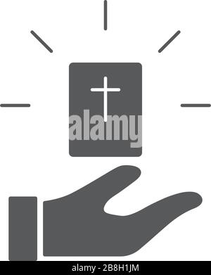 Hand give bible book vector icon symbol isolated on white background - Stock Photo