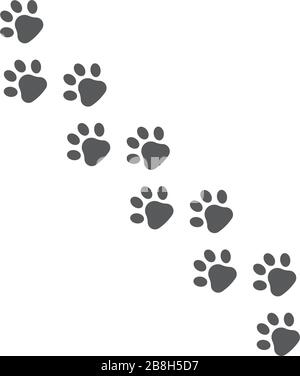 Black Paw Print vector icon, isolated on white background - Stock Photo