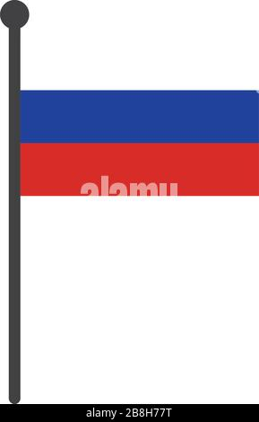 simple flat russia flag vector illustration with flagpole isolated on white background - Stock Photo
