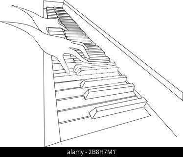 Beautiful black and white sketch with two contour hands playing on piano keyboard - Stock Photo