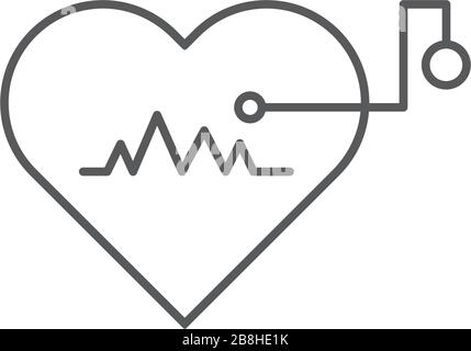 Artificial cardiac pacemaker vector icon concept, isolated on white background - Stock Photo