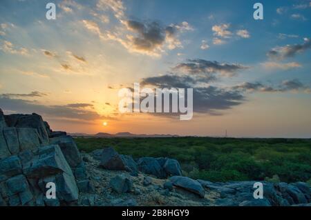Sunrise view from the Arabian desert of Saudi Arabia - Stock Photo