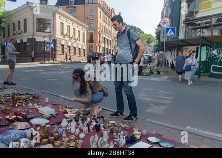 Kiev, Ukraine - May 19, 2019: Flea market in the Andrew's Descent - the historical part of the city
