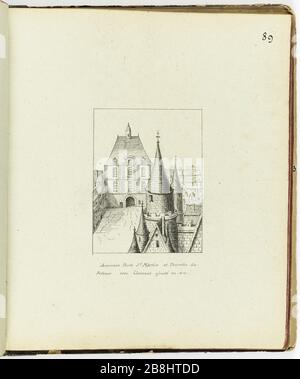 Collection of 102 drawings [Old Paris] Old Porte Saint-Martin and the Priory turret with building added in 1614 Henri Chapelle (1850-1925). 'Le Vieux Paris'. Recueil de 102 dessins. Ancienne Porte Saint-Martin et tourelle du Prieuré avec bâtiment ajouté en 1614. Paris, musée Carnavalet. - Stock Photo