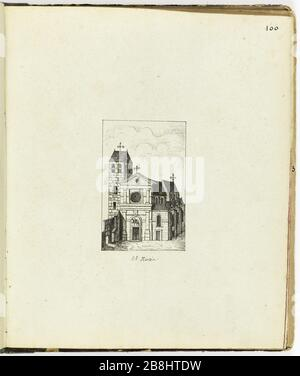 Collection of 102 drawings [Old Paris] The Church of St. Martin Henri Chapelle (1850-1925). 'Le Vieux Paris'. Recueil de 102 dessins. L'église Saint-Martin. Paris, musée Carnavalet. - Stock Photo