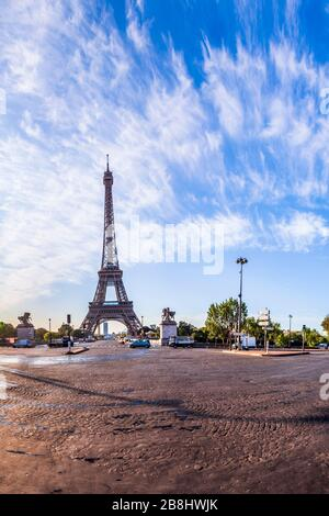 The Eiffel Tower seen from Pont d'Iena in Paris, France. - Stock Photo