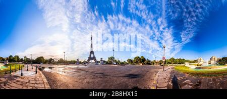The Eiffel Tower seen from Pont d'Iena in Paris, France. 360 degree panoramic view - Stock Photo