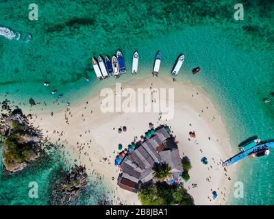Aerial View With Drone. Koh Khai Nai island, Phuket, Thailand. Beautiful tropical island with white sand beach and turquoise clear water. - Stock Photo