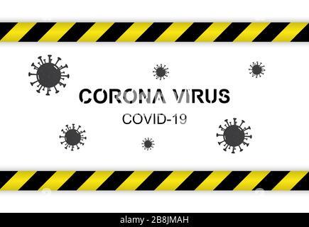 Quarantine strip isolated and insde  Coronavirus text over white background - Stock Photo