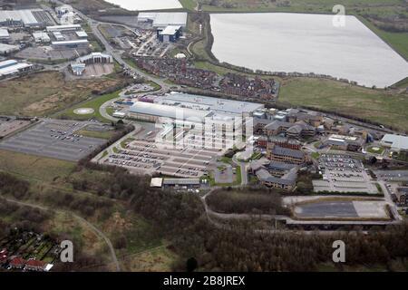 aerial view of Royal Blackburn Hospital, Lancashire - Stock Photo
