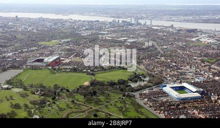 aerial view of Everton FC & Liverpool FC football grounds with Stanley Park between them, Liverpool - Stock Photo