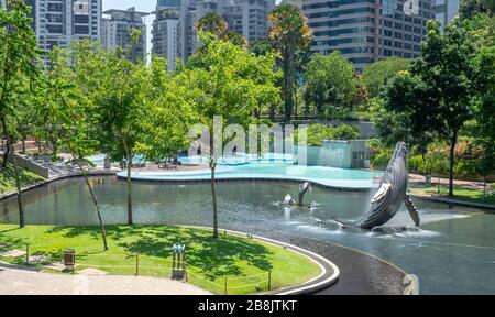 Whale sculpture fountain in Lake Symphony in KLCC Park Kuala Lumpur Malaysia.