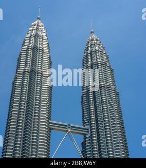 Sky bridge connecting the Petronas Twin Towers Kuala Lumpur Malaysia.