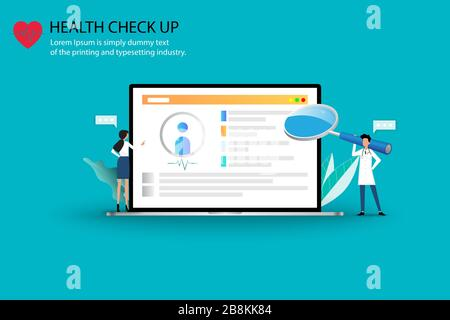Concept of medical health check up, two doctors are working on a big screen of laptop to monitor, check and treat health of the patients. - Stock Photo