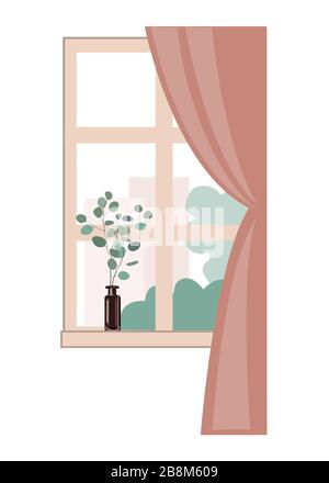 Window overlooking the city buildings and trees. Eucalyptus branch in the glass on the windowsill. Spring interior design element. Flat vector - Stock Photo