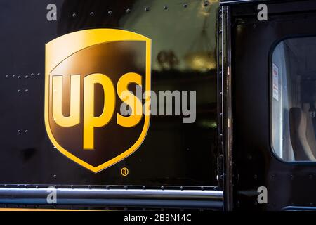 American Multinational Package Delivery And Supply Chain Management Company United Parcel Service Or Ups Logo Seen On A Delivery Vehicle Stock Photo Alamy