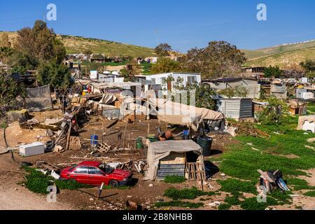 A bedouin settlement in the Judean Hills near Jerusalem, Israel, Middle East. - Stock Photo