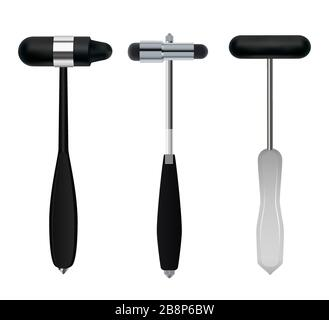 Neurological hammers. Set of medical instruments of neurologist used to test reflexes and sensitivity of the patient. Vector . - Stock Photo