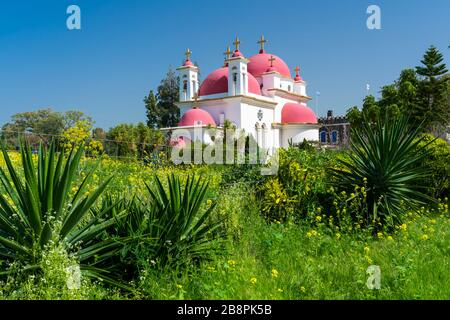 The Greek Orthodox Church of the Seven Apostles near Capernaum, Sea of Galilee, Israel, Middle East. - Stock Photo