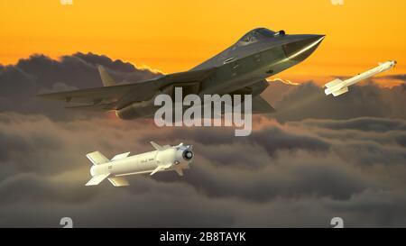 Russian fifth generation fighter SU-57-3d illustration. - Stock Photo