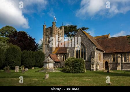 Hambleden Church; Buckinghamshire; UK - Stock Photo