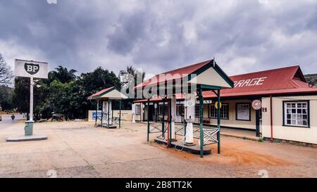 Old BP British Petroleum oil company petrol garage and service station on Panorama route Pilgrims Rest South Africa - Stock Photo