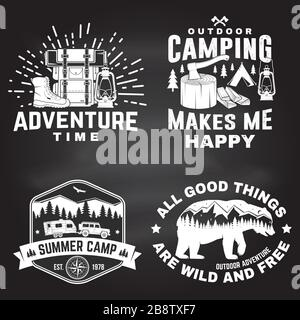 Set of outdoor adventure inspirational quote. Vector illustration. Concept for shirt, logo, print, stamp or tee. Vintage typography design with camper tent, bear, mountain, forest landscape silhouette - Stock Photo