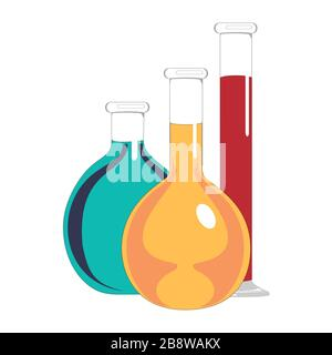 Laboratory glass flasks and test tubes with blue, yellow and red liquid. Chemical and biological experiments. Vector illustration in flat style. - Stock Photo