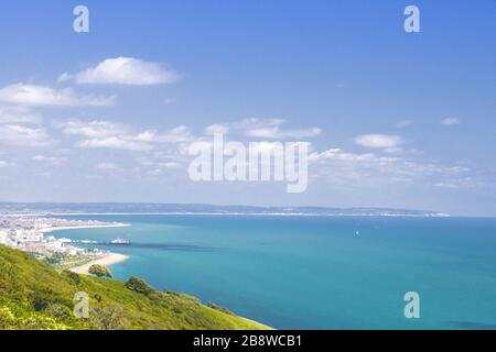 Oil painting of view Eastbourne coastal from top of hill, East Sussex, UK - Stock Photo