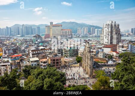 Elevated view of the Ruins of Saint Paul's from the Mount Fortress. Macau, China.