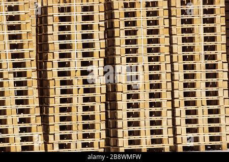 detail of stock wood pallet under sun light - Stock Photo