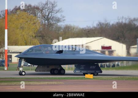 Northrop Grumman B-2 Spirit stealth bomber leaving for the USA after exercises in Europe, RAF Fairford, UK - Stock Photo