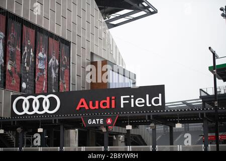 Washington, USA. 23rd Mar, 2020. Audi Field, where Washington-based Major League Soccer (MLS) team DC United plays home games, as seen on a rainy Monday morning amidst the COVID-19 pandemic in Washington, DC on March 23, 2020. MLS announced a league-wide suspension of matches until at least May 10, meanwhile Congress debated and failed to find a compromise for a major coronavirus response bill over the past weekend, as multiple members of the House and Senate have tested positive for the disease. (Graeme Sloan/Sipa USA) Credit: Sipa USA/Alamy Live News - Stock Photo