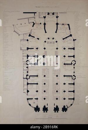 Map of the Saint-Gervais Saint-Protais Plan de l'église Saint-Gervais Saint-Protais. Encre de Chine et aquarelle rouge. 1735-1736. Paris, musée Carnavalet. - Stock Photo