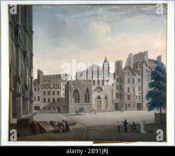 ENTRY OF FORMER HOTEL-DIEU ON THE SQUARE OUR LADY Pierre-François-Léonard Fontaine (1762-1853). 'Entrée de l'ancien Hôtel-Dieu sur le parvis Notre-Dame, vers 1810'. Dessin. Paris, musée Carnavalet. - Stock Photo