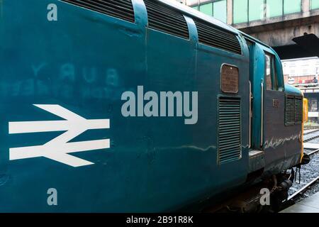 English Electric Class 37 loco 37109 at Bury railway station - Stock Photo