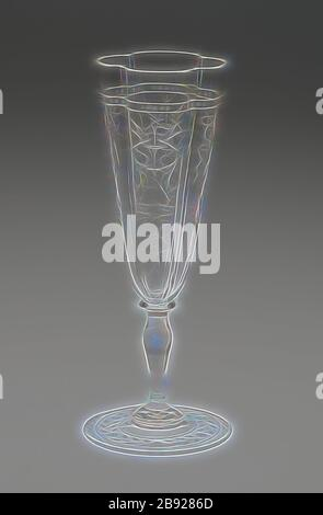 Champagne Flute, 19th century, J. & L. Lobmeyr, Austrian, founded 1822, Vienna, Glass, clear and blown with quadri-lobed bowl, H. 17.5 cm (6 7/8 in.), Reimagined by Gibon, design of warm cheerful glowing of brightness and light rays radiance. Classic art reinvented with a modern twist. Photography inspired by futurism, embracing dynamic energy of modern technology, movement, speed and revolutionize culture. - Stock Photo
