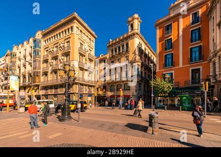Boqueria square in Rambla in Barcelona in summer - Stock Photo