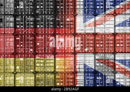 PHOTOMONTAGE, stacked containers in the national colours of Germany and Great Britain, FOTOMONTAGE, Gestapelte Container in den Nationalfarben von Deu - Stock Photo