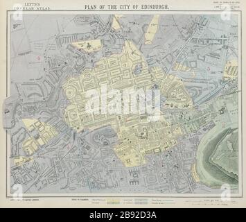 EDINBURGH antique town city map plan showing parishes. LETTS 1884 old - Stock Photo