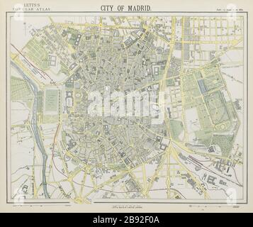 MADRID antique town city map plan. Railways. LETTS 1884 old chart - Stock Photo