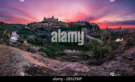 Beautiful panoramic view of Toledo at sunset. Travel concept.